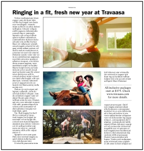 Basic layout for a broadsheet advertorial for Travaasa spa.